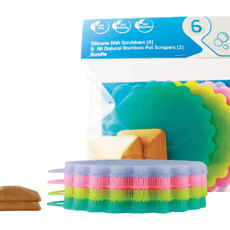 Silicone Dish Scrubber and Bamboo Pot Scraper in package